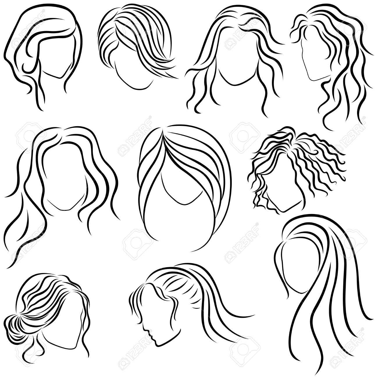 1300x1300 Hairstyles For Women, Set Of Ten Hand Drawing Outlines Royalty