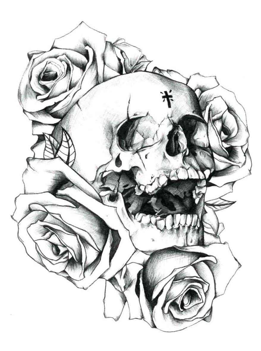 878x1181 Pin Drawn Sugar Skull 8 62 Enchanting Outlines Outline Drawing