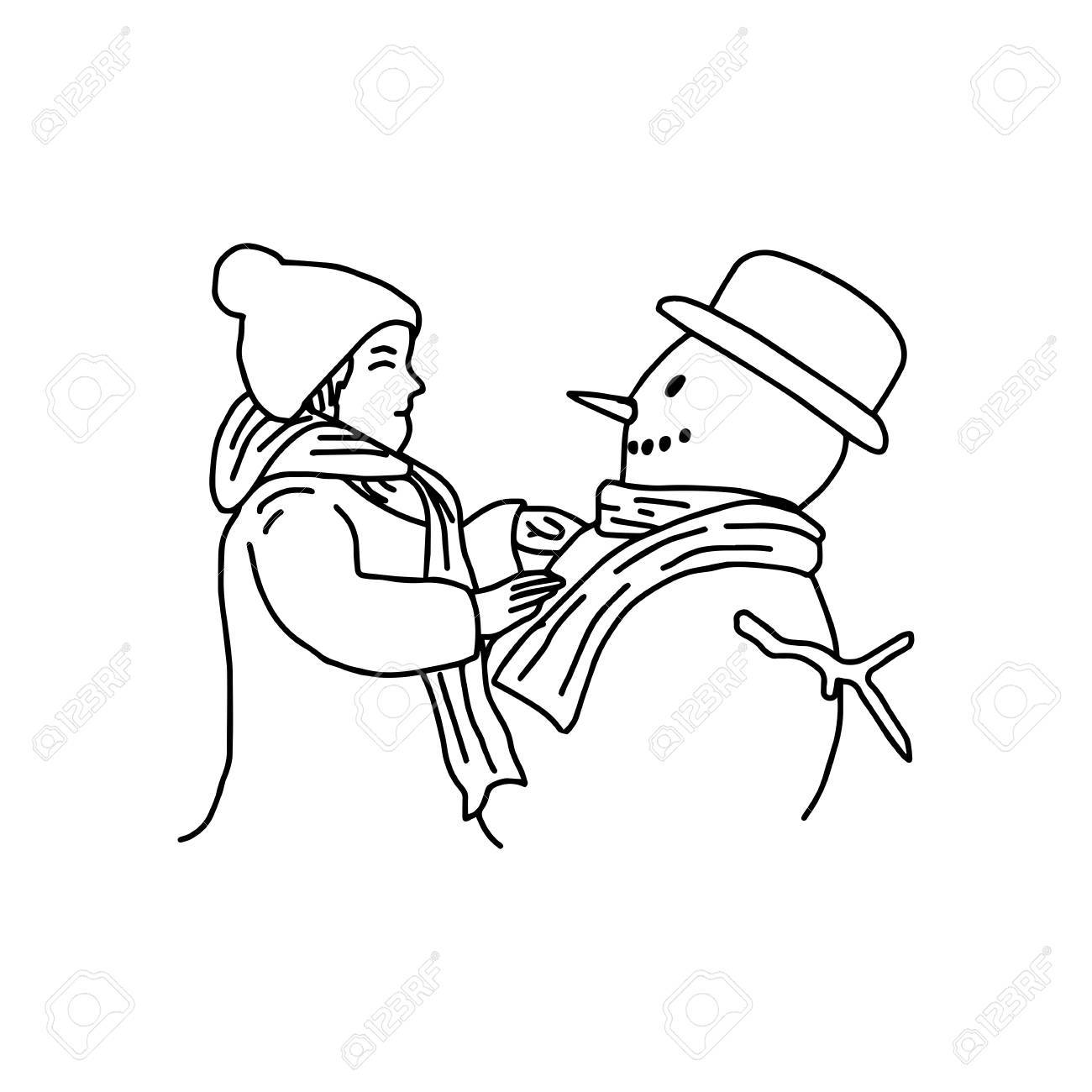 1300x1300 Young Girl Building A Snowman Vector Illustration Drawing