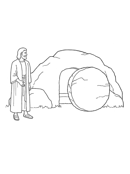 447x596 A Black And White Illustration Jesus Christ Standing Outside