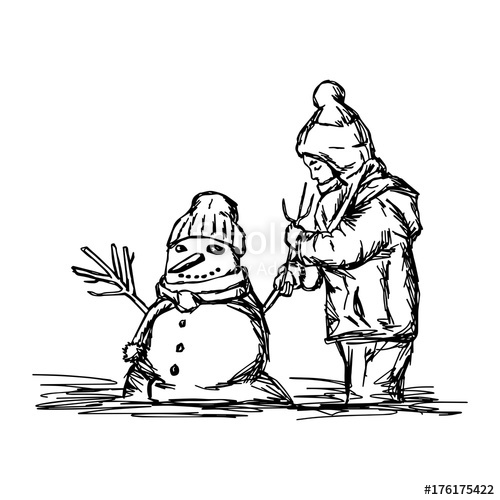 500x500 Happy Child Building Snowman Outside In Winter Time Vector