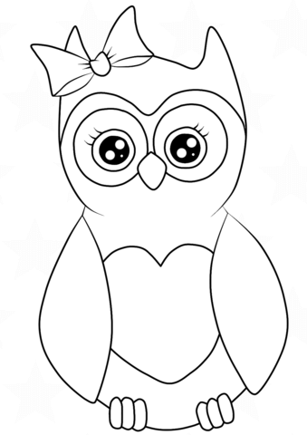 339x480 Cutest Cartoon Owl Coloring Page Free Printable Pages