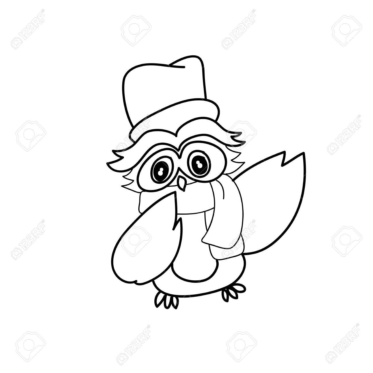 1300x1300 Hand Drawing Cartoon Owl Abstract Character Royalty Free Cliparts