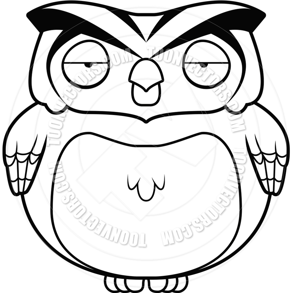 940x940 Cartoon Owl (Black And White Line Art) By Cory Thoman Toon