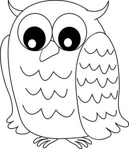 260x300 Owl Coloring Template