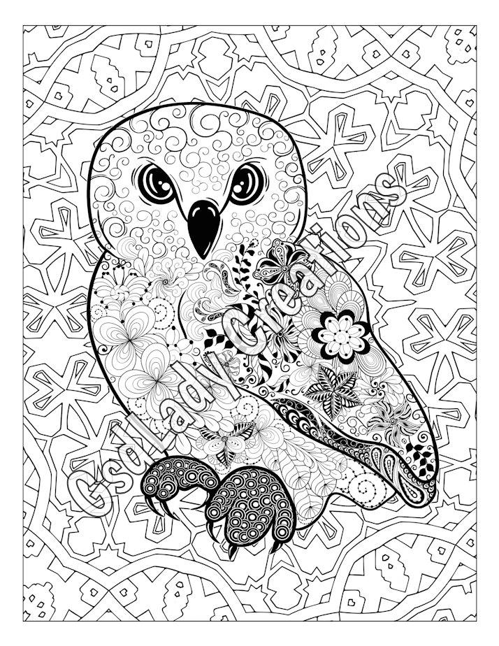 714x924 Owl, Animal Art Page To Color, Zentangle Animal, Zentangle Drawing