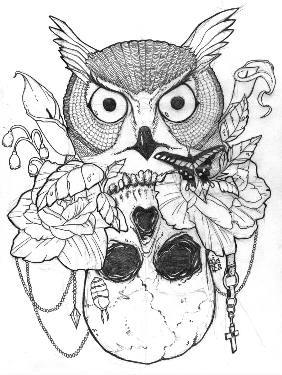 900x1196 Owl And Sugar Skull Drawing Color Pages Sugar