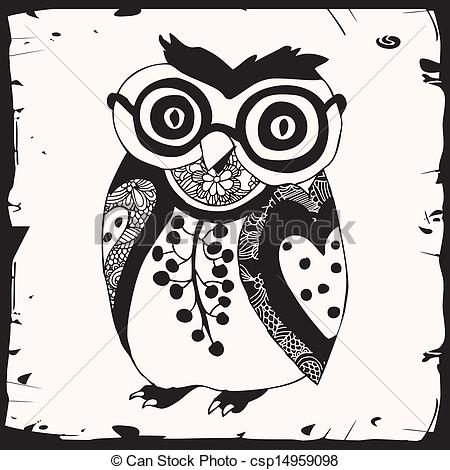 450x470 Cute Black Owl With Glasses On White Background With Black Eps