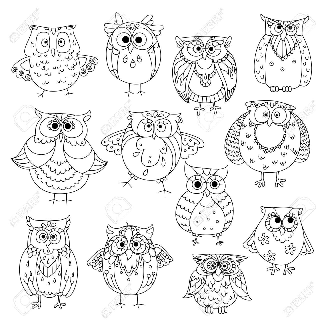 1300x1300 Decorative Sketches Of Cute Owls With Young Owlets, Wise Horned