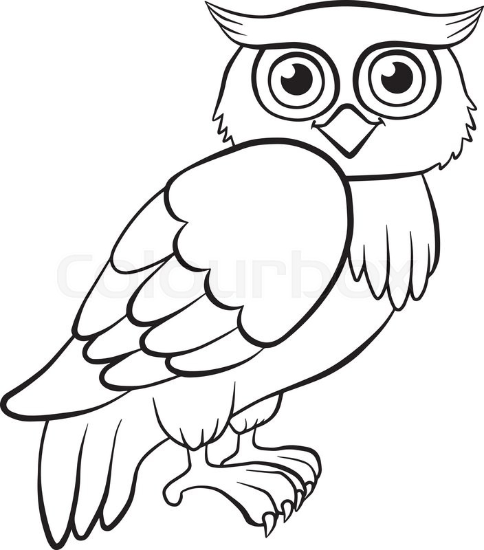 704x800 Coloring Pages. Birds. Cute Owl Sits And Smiles. Stock Vector