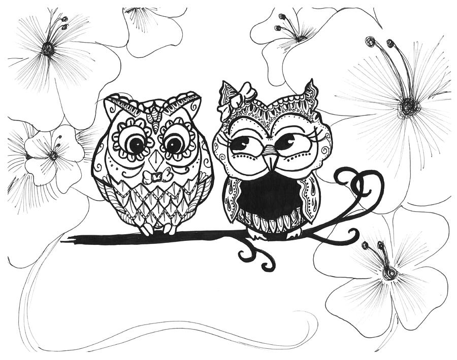 900x710 Owls In Love Drawing By Brittany Prichard