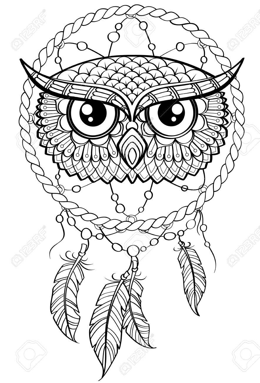 884x1300 Dream Catcher With Owl. Royalty Free Cliparts, Vectors, And Stock