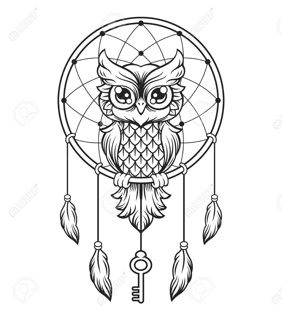 1177x1300 Dream Catcher Black And White Owl. Royalty Free Cliparts, Vectors