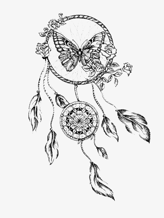 564x752 Dreamcatcher, Black And White, Butterfly Png Image For Free Download