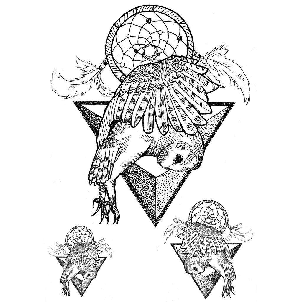 1024x1024 Temporary Tattoo Dreamcatcher Owl Dreamcatcher Concept