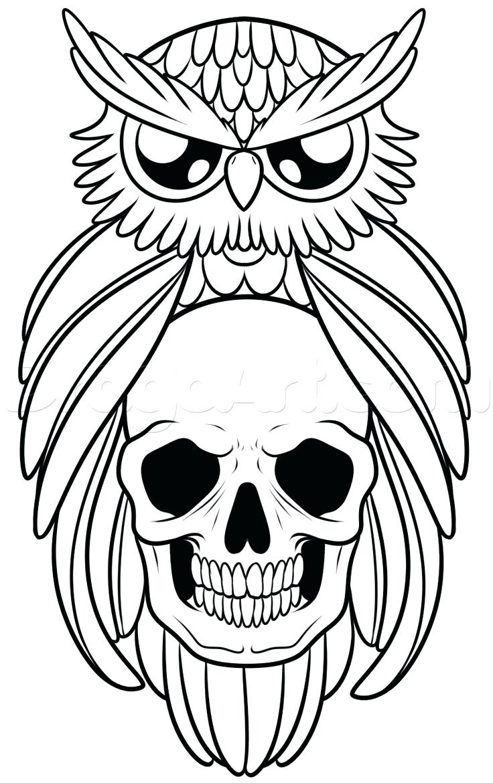 736x1170 Draw An Owl And Skull Tattoo Step By Tattoos Pop Culture Free