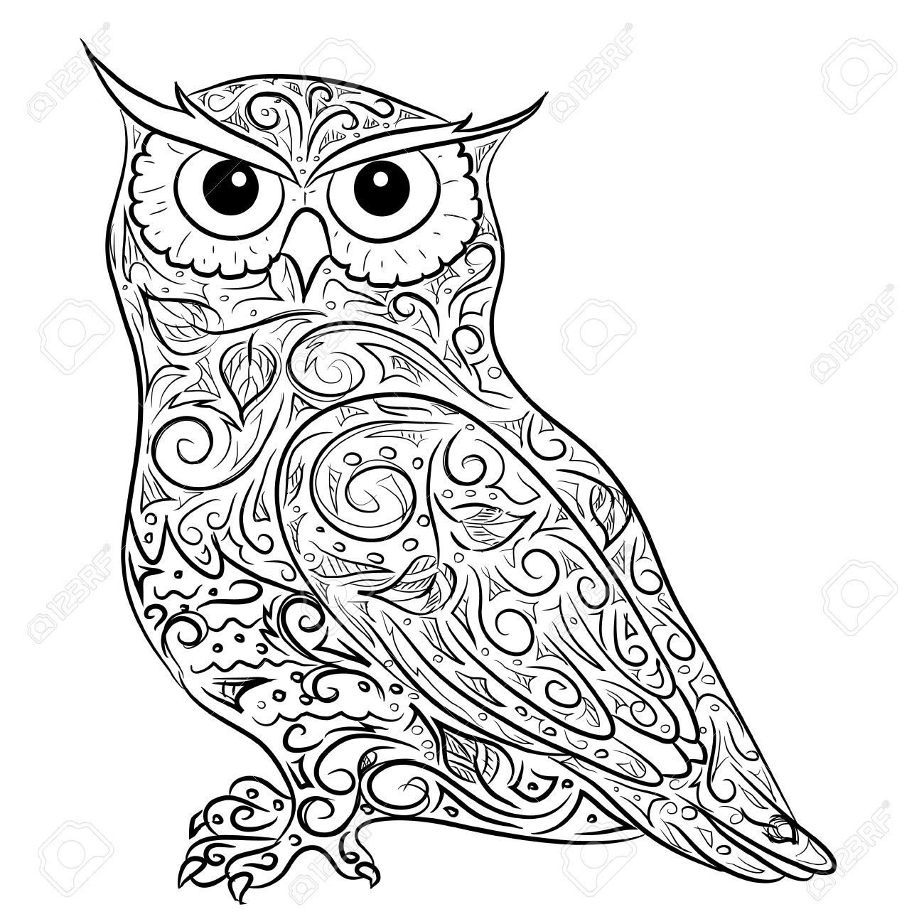 1300x1300 Hand Drawing Owl Royalty Free Cliparts, Vectors, And Stock