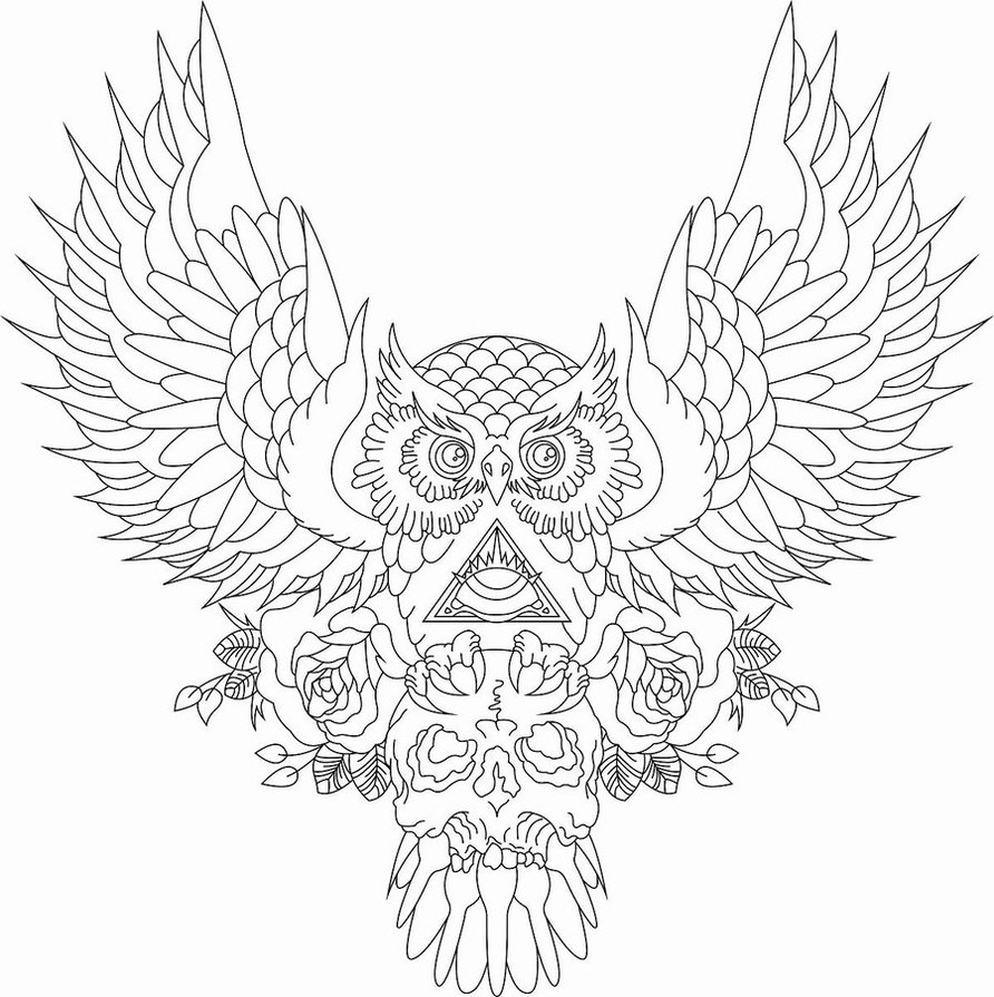 892x895 Collection Of Horned Owl Tattoo Design