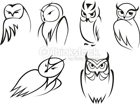 Owl Tattoo Line Drawing