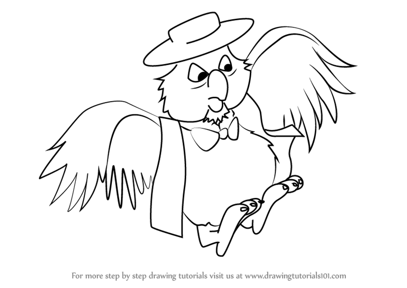 800x566 Learn How To Draw Deacon Owl From The Rescuers (The Rescuers) Step