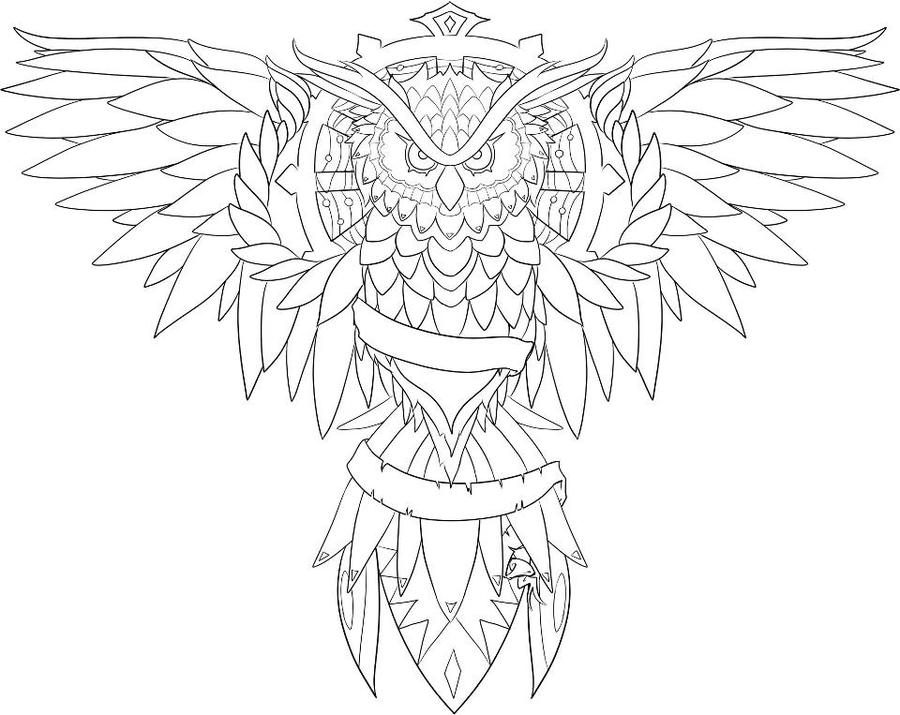 900x715 Owl Line Drawing 387708
