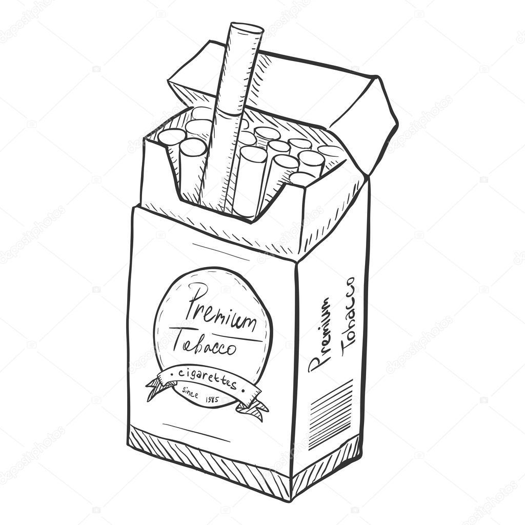 1024x1024 Pack Of Cigarettes Sketch Stock Vector Nikiteev
