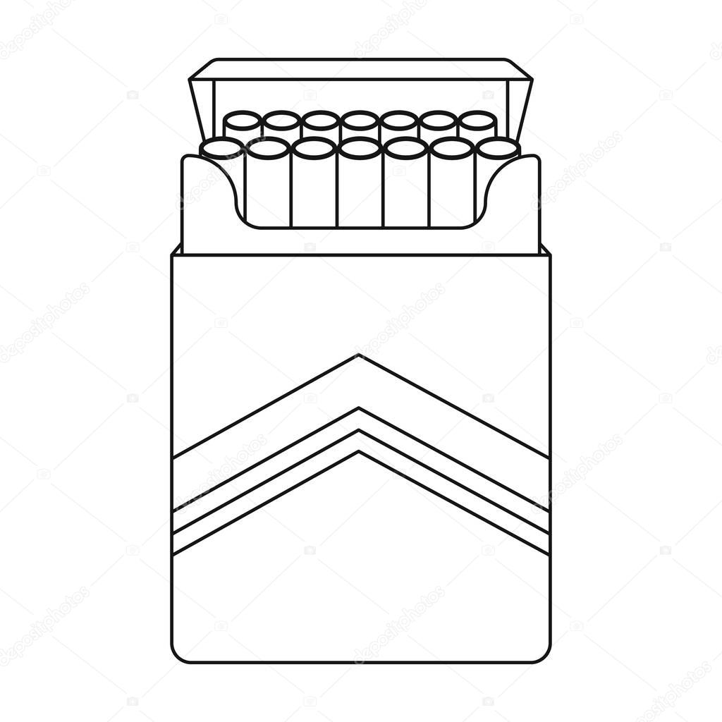 1024x1024 Pack Of Cigarettes Icon In Outline Style Isolated On White