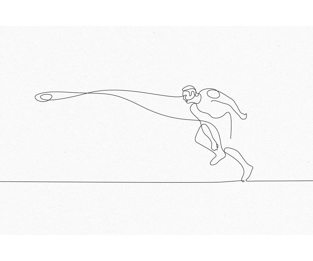 1080x900 Single Line Illustration, Cricket Player Drawing By One Line
