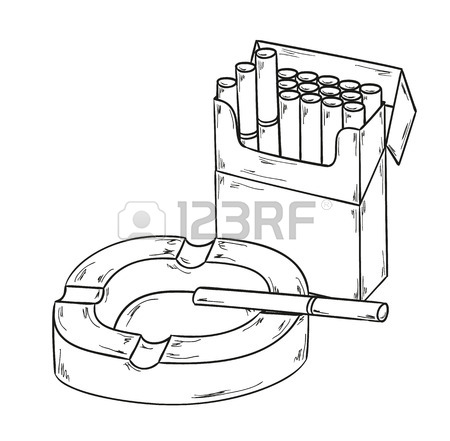 450x441 Sketch Of The Cigarettes Pack And Ashtray On White Background