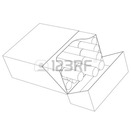 450x450 Sketch Of The Cigarettes Pack On Red Background Royalty Free