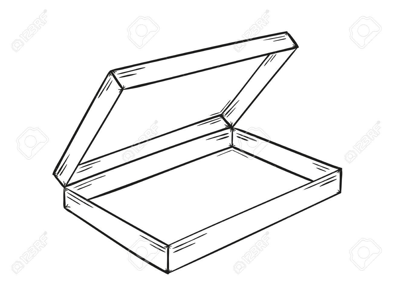 1300x1012 Sketch Of The Empty Paper Box On White Background, Isolated