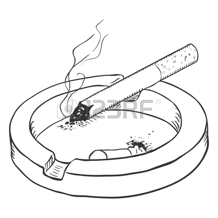 450x450 Vector Color Sketch Ashtray With Cigarette. Hand Draw Illustration