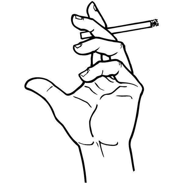 600x600 Hand Holding A Cigarette Vinyl Sticker. Customize On Line. Hands