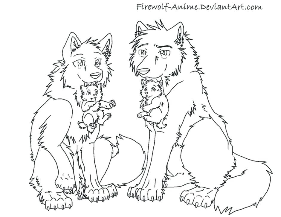 940x726 Lovely Wolf Pack Coloring Pages Print Anime