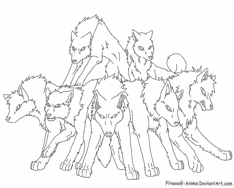 900x723 Pack Of Wolves Lineart By Firewolf Anime