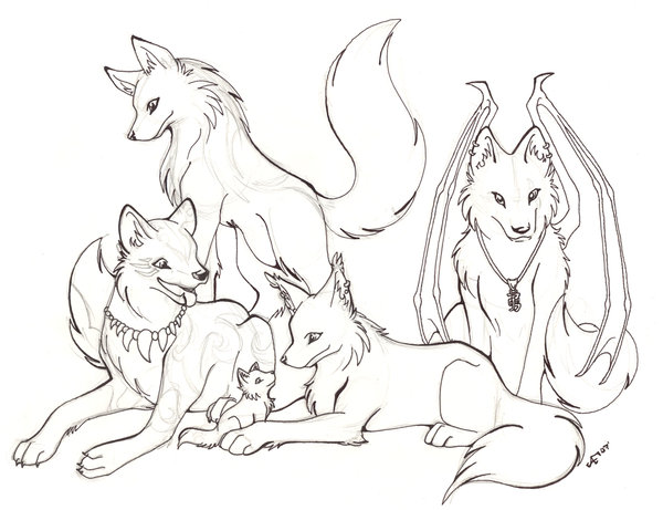 600x461 Wolf Pack Line And Sketch By Halo 2 Fan