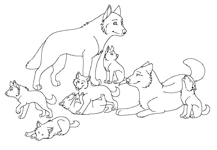 741x513 Free Wolf Pack Lineart By Machinewolf2