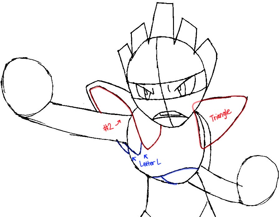 895x698 How To Draw Hitmonchan From Pokemon Step By Step Drawing Tutorial