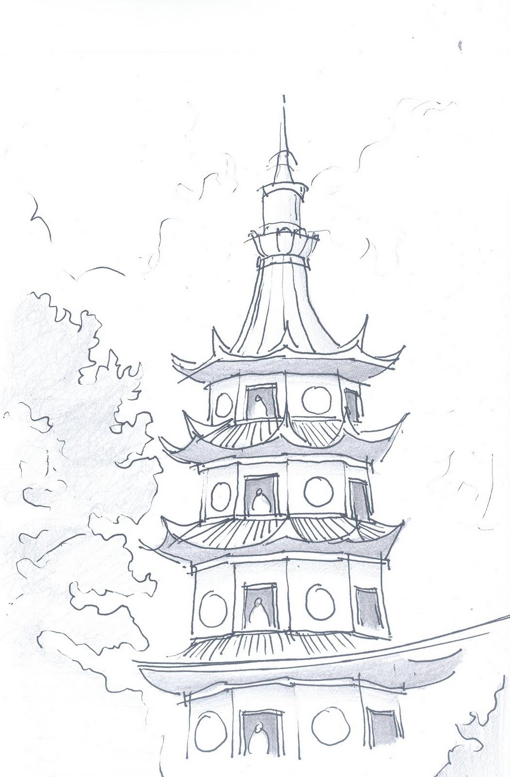 Pagoda Drawing At GetDrawings