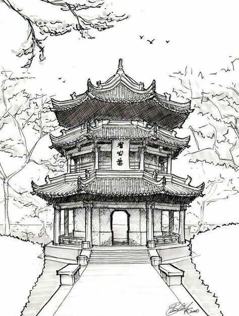 474x628 Chinese Temple Drawing Illustration Temple