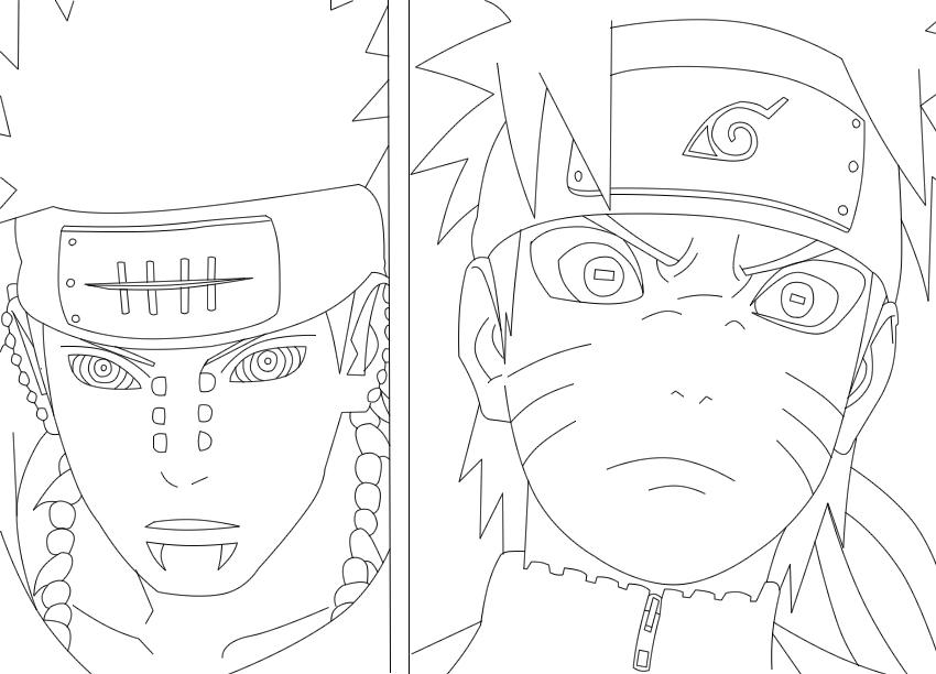850x612 Naruto V.s Pain Lineart By Narutotenkaichi