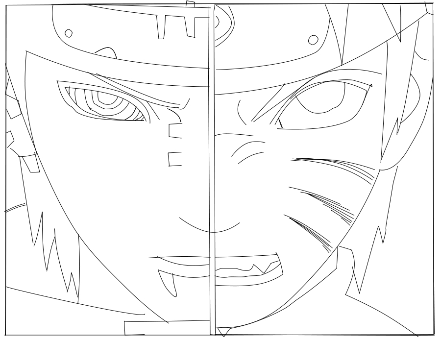 900x696 Lineart Naruto Vs Pain By Rnzcrewbyneex