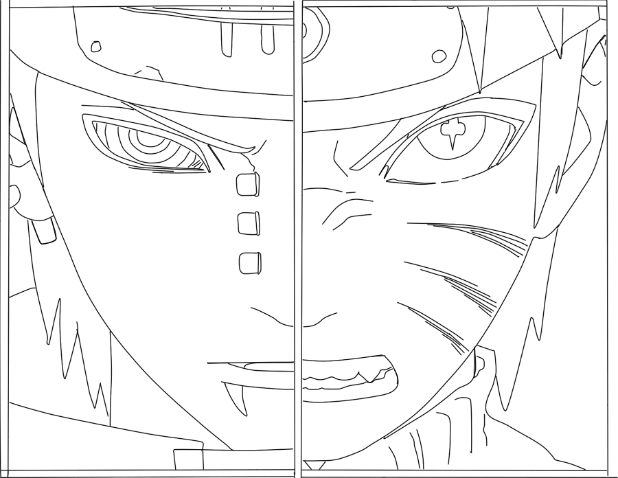 900x696 Naruto Vs Pain Lineart By Lulumgreat