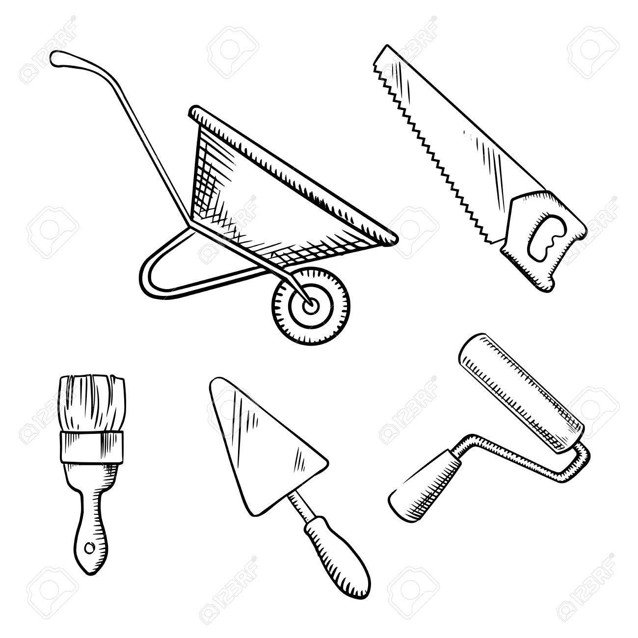 1300x1300 Hand Saw, Trowel, Wheelbarrow, Paint Brush And Roller Sketch