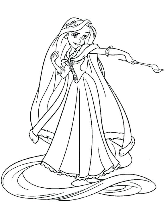 576x770 Paint Brush Coloring Page Princess Holding Brush Coloring Pages