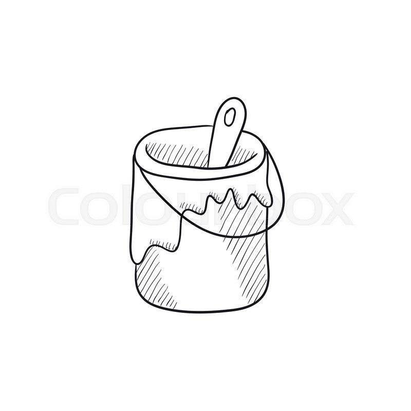 800x800 Paint Brush In The Paint Tin Vector Sketch Icon Isolated