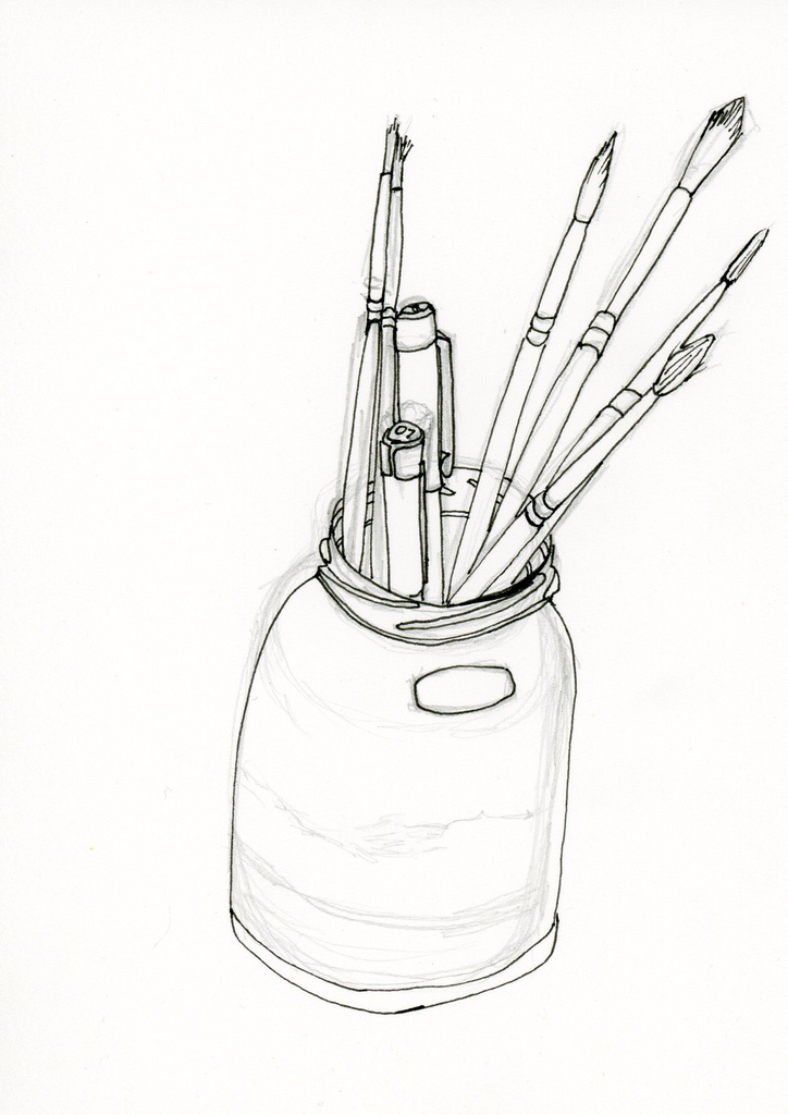724x1024 Jar Of Pens And Paint Brushes Jar Of Pens And Paint