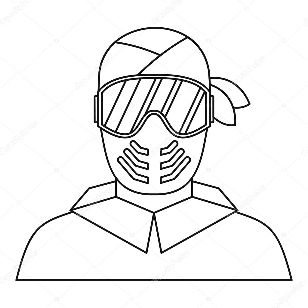 1024x1024 Paintball Player In Protective Mask Icon Stock Vector