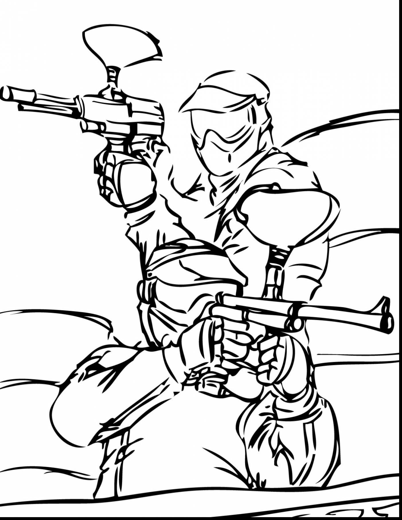 1402x1815 Extraordinary Coloring Pages To Print Of Paintball Gun With Sports