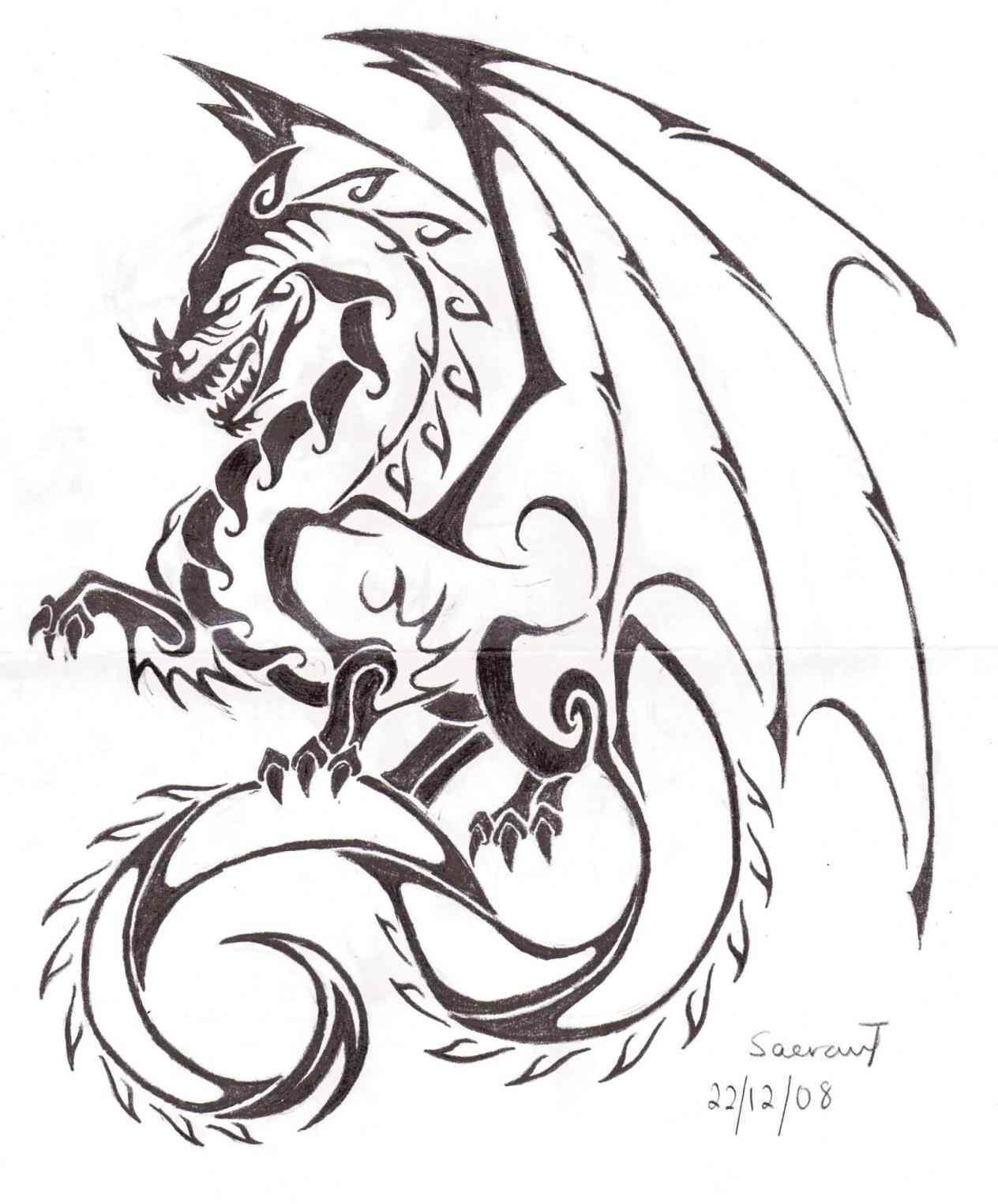 1264x1525 Free Dragon Tattoo Sleeve Outline Flash Love Heart Design